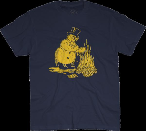 Snowman on Navy Blue T-Shirt