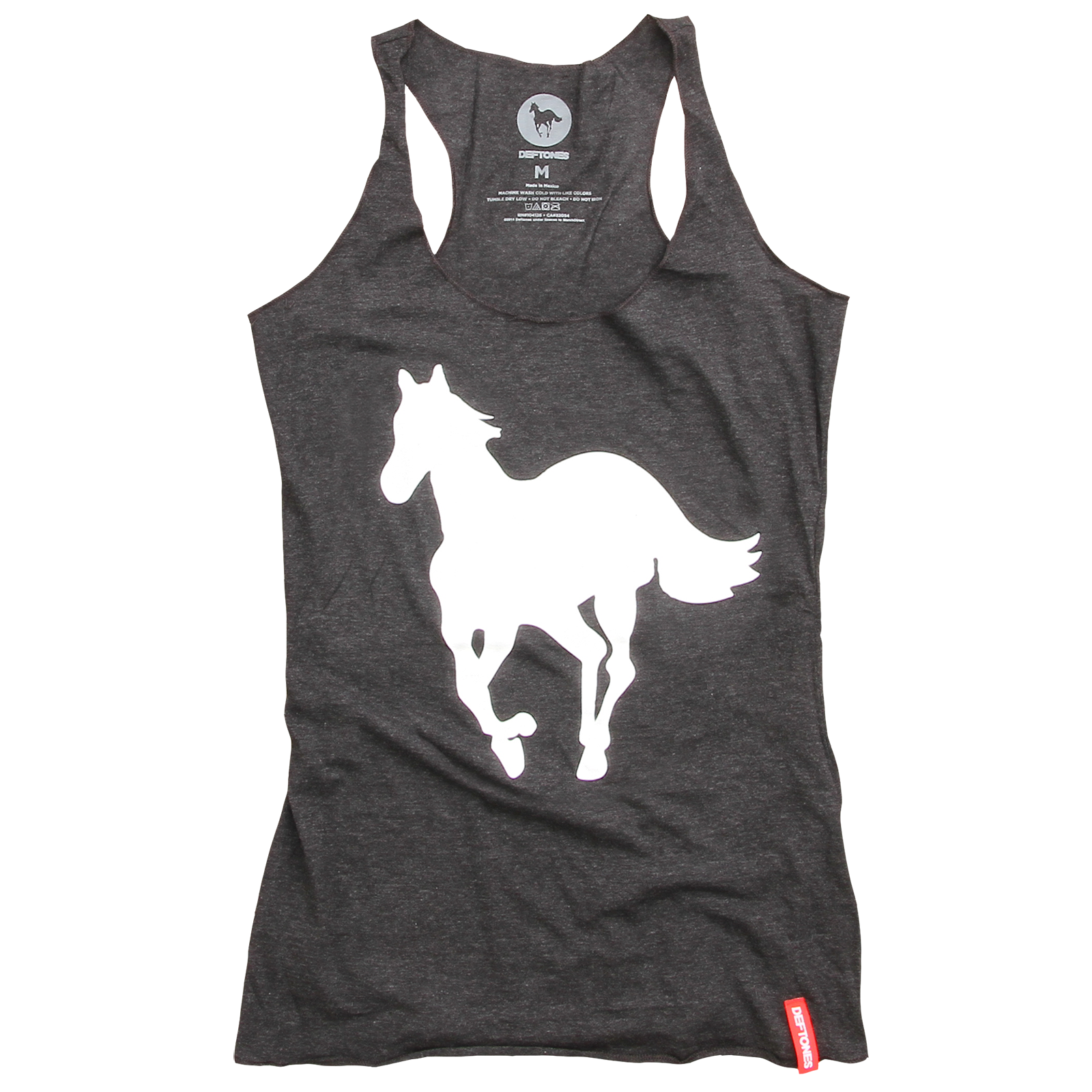 White Pony Racer Back Women's Black Tank Top