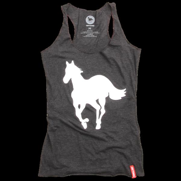 White Pony Racer Back Women's Black Tank Top