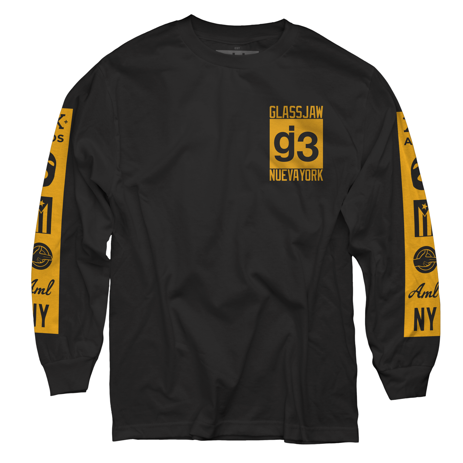 KKBB black gold mas logos long sleeve t-shirt