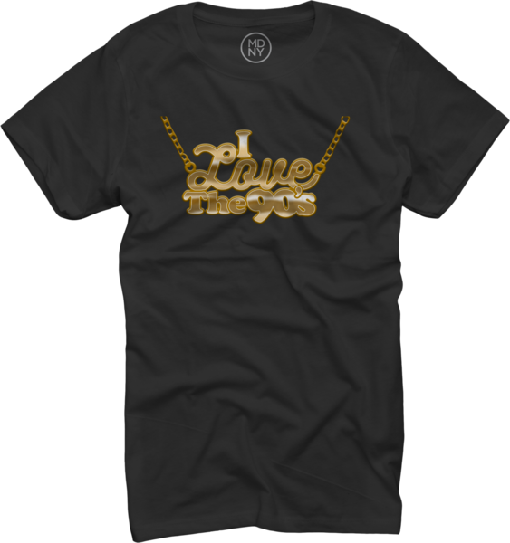 Womens Gold Chain on Black T-Shirt