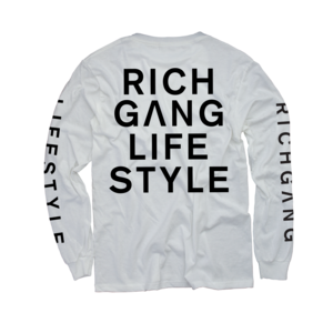 Rich Gang Life Style White Long Sleeve T-Shirt