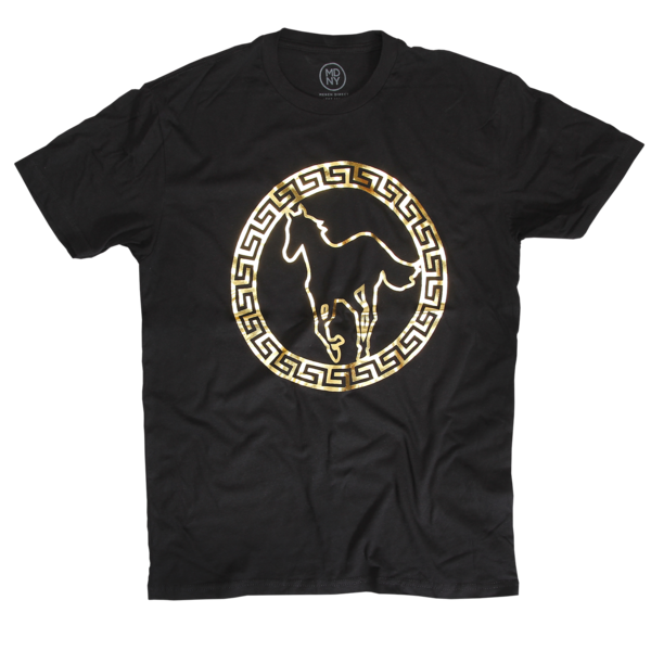 Gold Foil Pony on Black T-Shirt