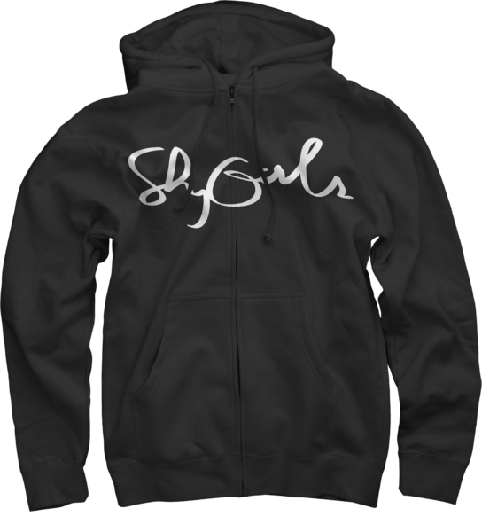 Logo Zip-Up Hoodie - Shy Girls Cursive Logo