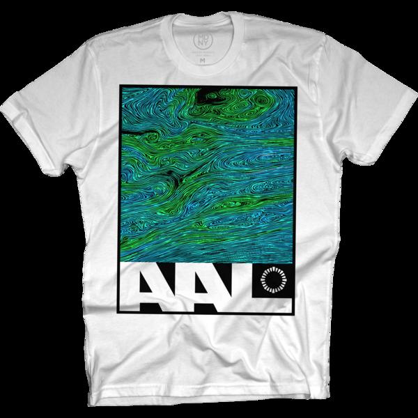 Green Swirl White T-Shirt