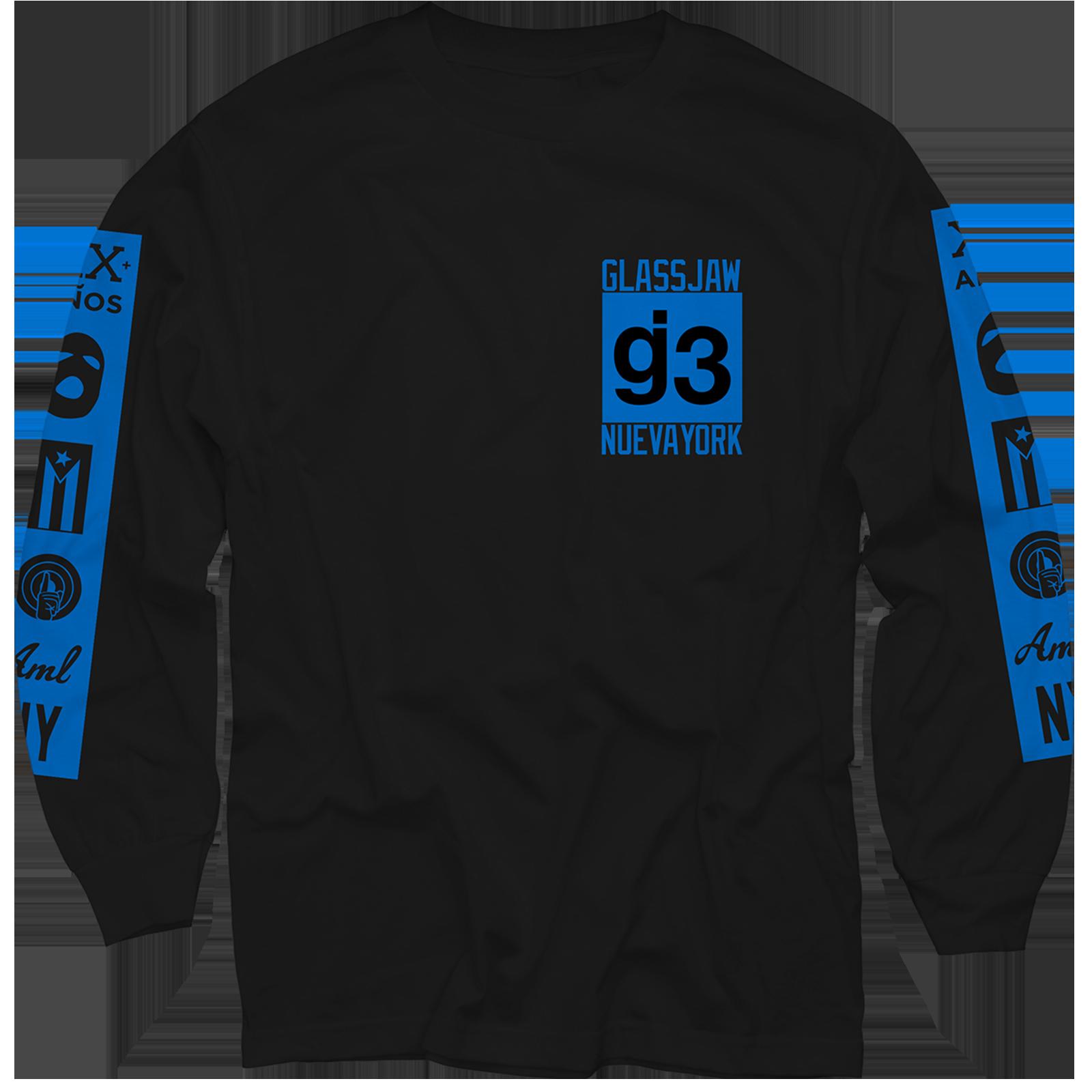 EYEWTKAS Blue Mas Logos on Black Longsleeve