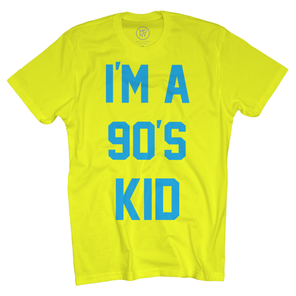 90s Kid on Neon Yellow T-Shirt