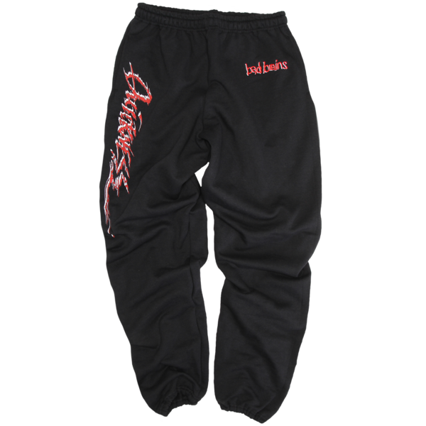 Embroidered Quickness Black Sweatpants
