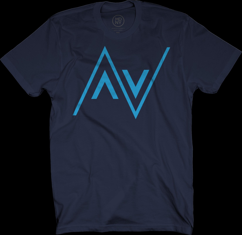 AV Club Electric Blue on Navy Blue T-Shirt