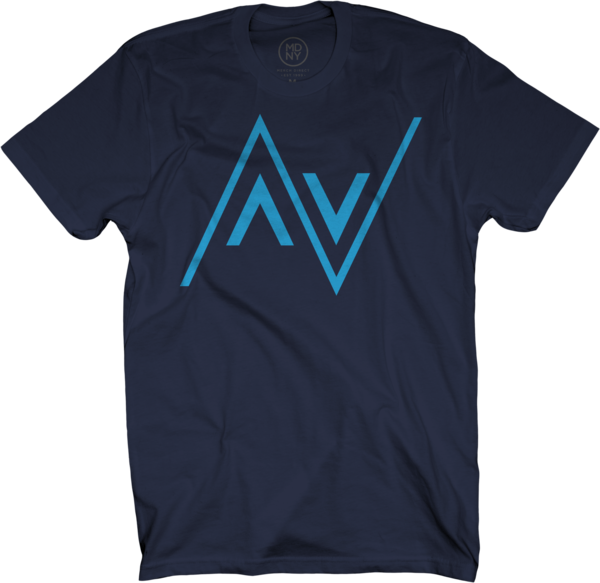 AV Club Electric Blue on Navy Blue T-Shirt