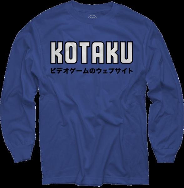 Japanese on Royal Blue Long Sleeve T-Shirt