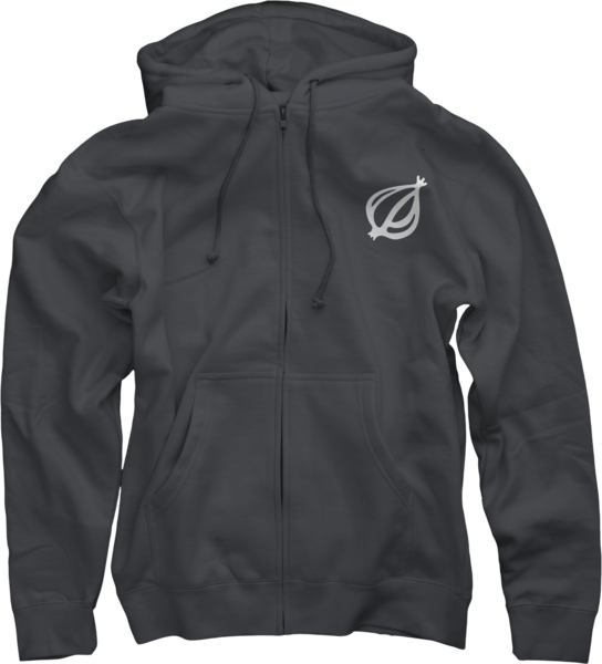 The Onion Logo on Charcoal Zip Up