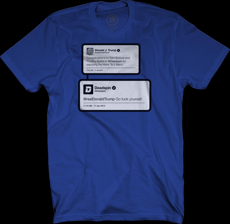 Trump Tweet on Royal Blue T-Shirt