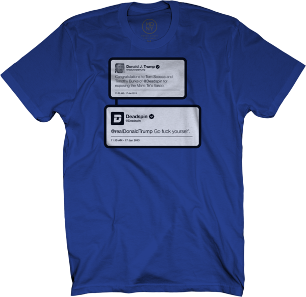 Trump Tweet on Royal Blue T-Shirt