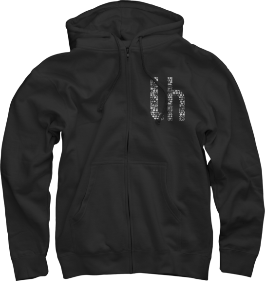 Lifehacker Pattern on Black Zip Up Hoodie