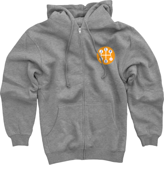 Gear Shift on Heather Grey Zip Up Hoodie