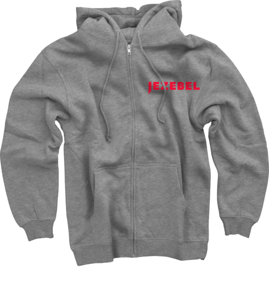 Jezebel on Heather Grey Zip Up Hoodie