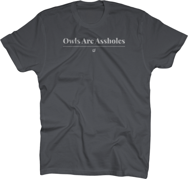 Owls Are Assholes on Charcoal T-Shirt
