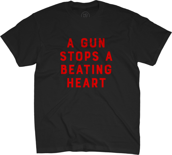 A Gun Stops A Beating Heart on Black T-Shirt
