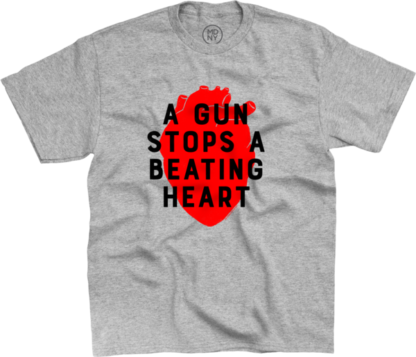 A Gun Stops A Beating Heart with Image on Heather Grey T-Shirt