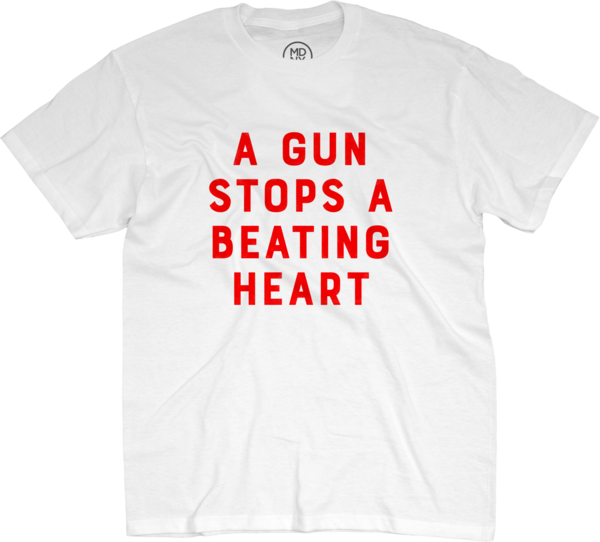 A Gun Stops A Beating Heart on White T-Shirt