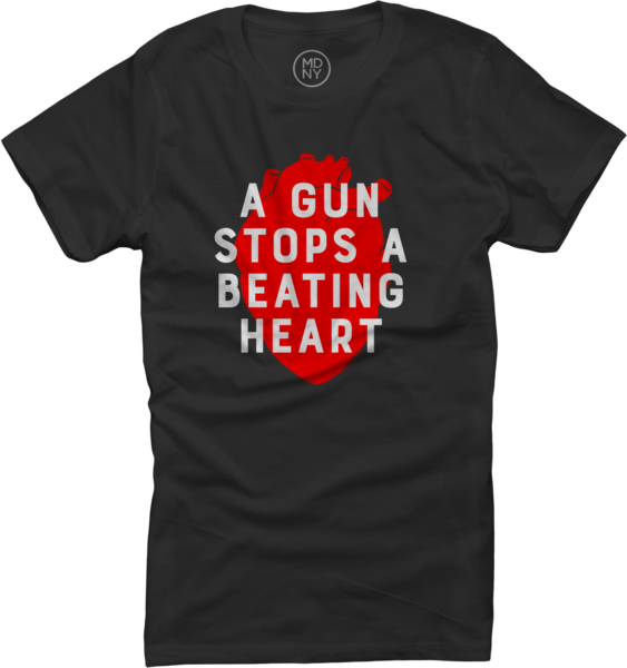 A Gun Stops A Beating Heart #2 on Women's Black T-Shirt