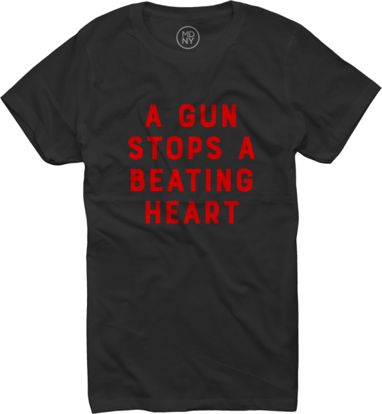 A Gun Stops A Beating Heart on Women's Black T-Shirt