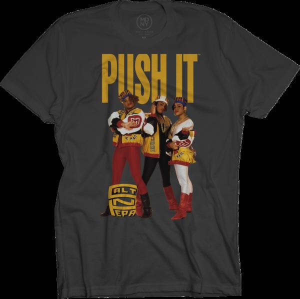Push It Color Photo Group Shot on Black T-Shirt
