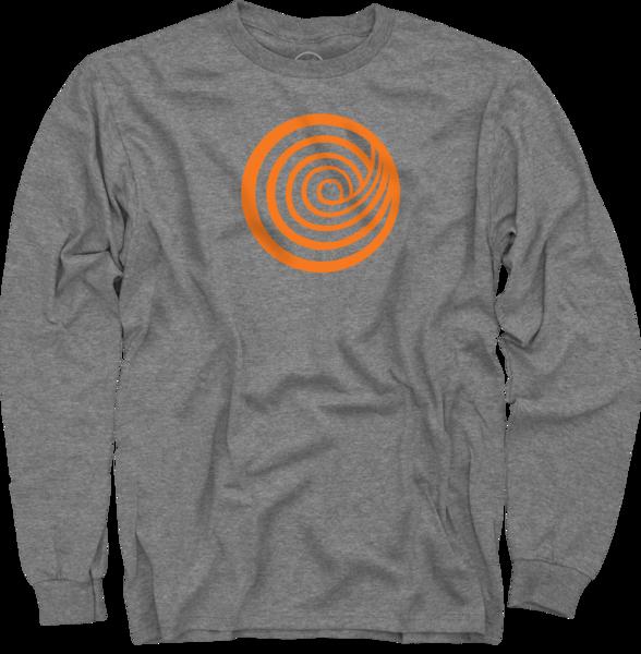 ClickHole Logo Orange on Heather Grey Long Sleeve