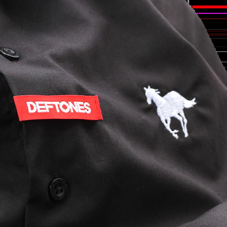 White Pony Black Button Up