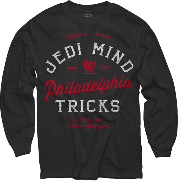 Authentic Brand Red on Black Long Sleeve