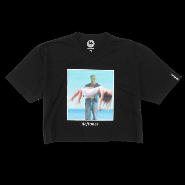 Pixel Beach Black Crop T-Shirt