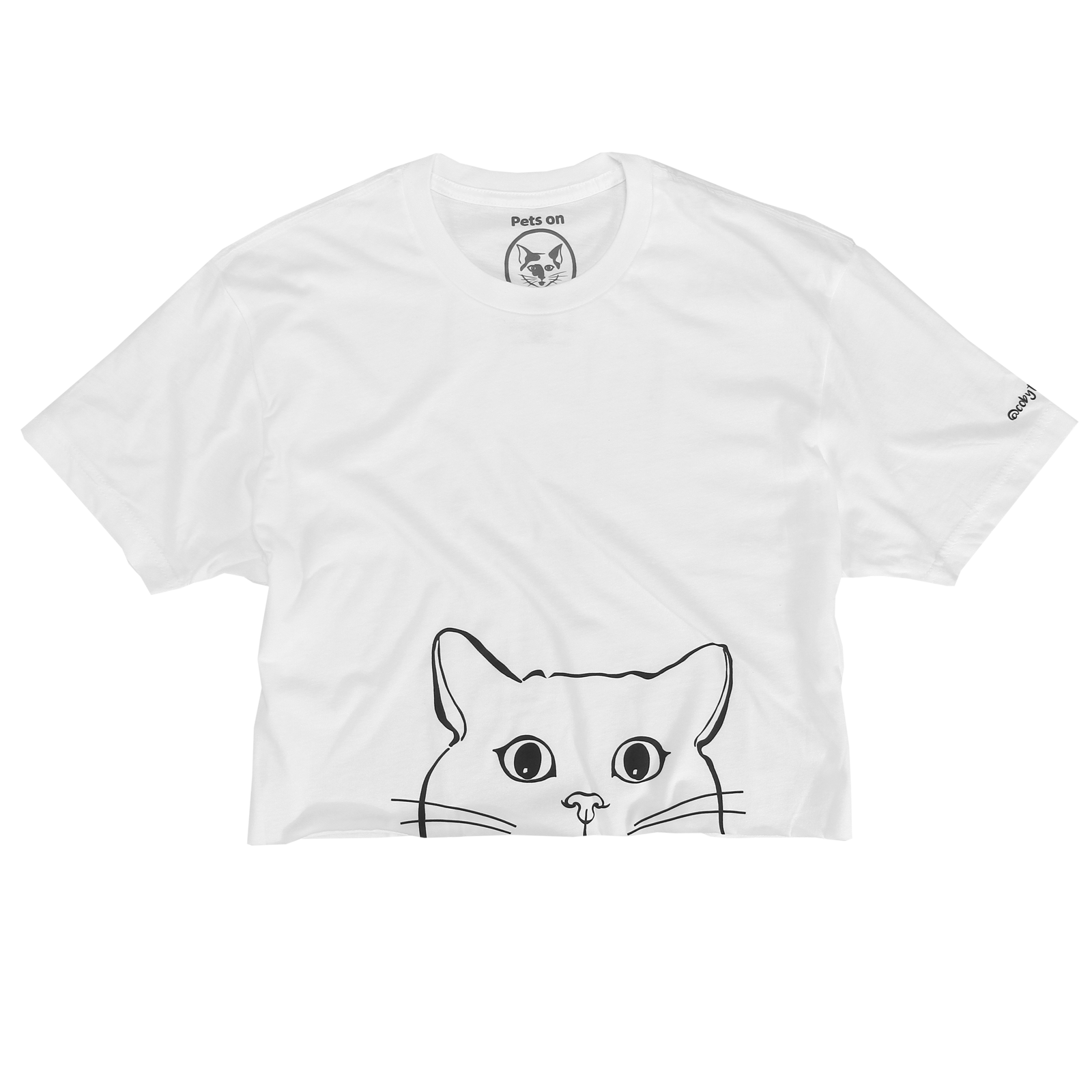 Coby - Face on Raw Edge Cropped Tee