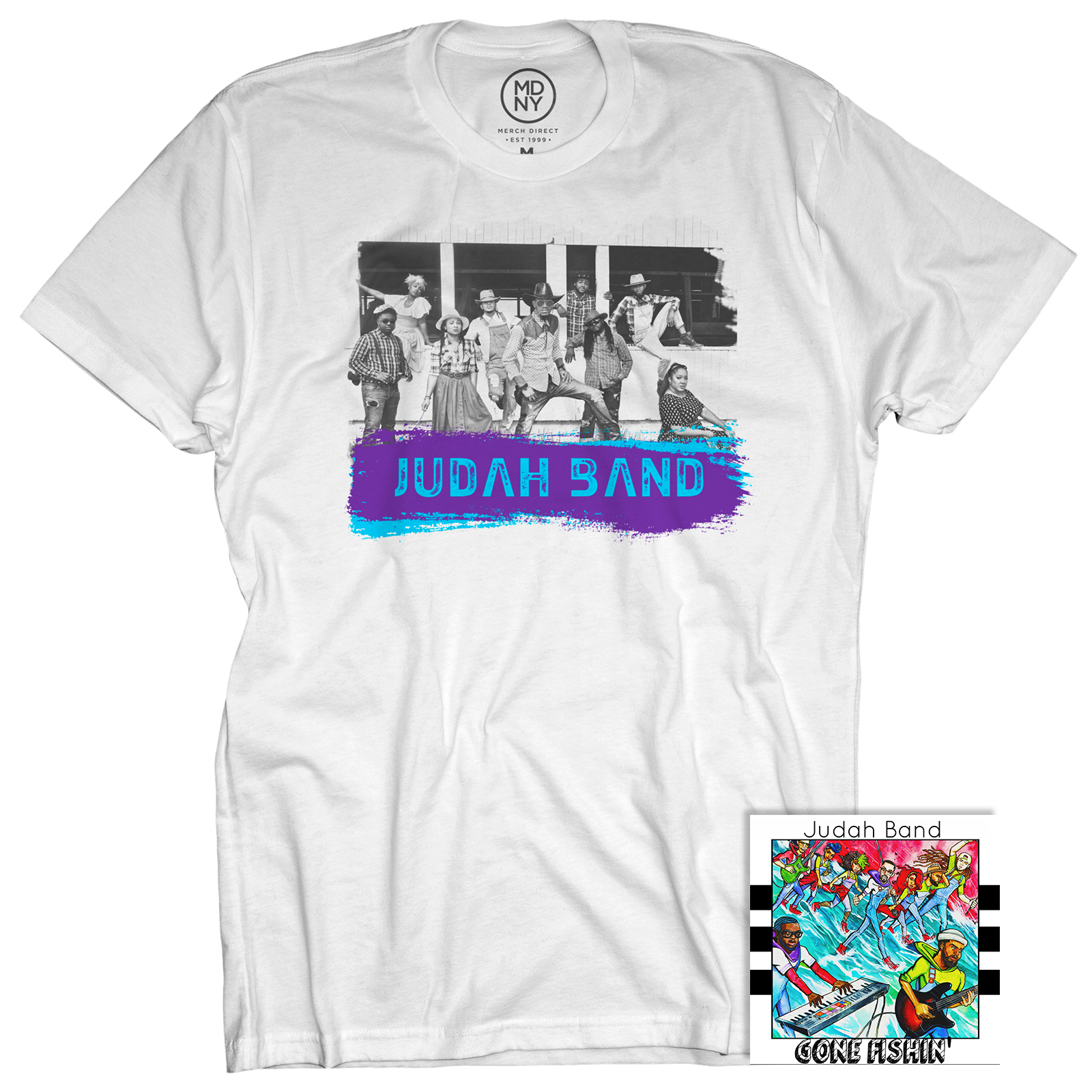Judah Band White T-Shirt + Gone Fishin' CD
