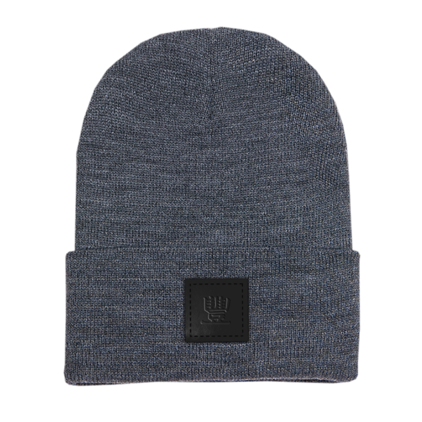 Symbol Leather Patch on Heather Grey Beanie