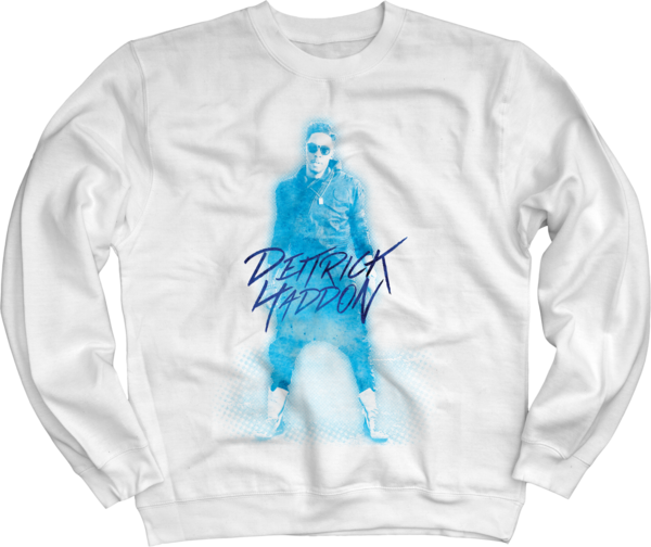 Dietrick Haddon - Blue Photo on White Crewneck