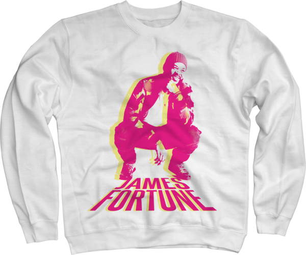 James Fortune Photo on White Crewneck