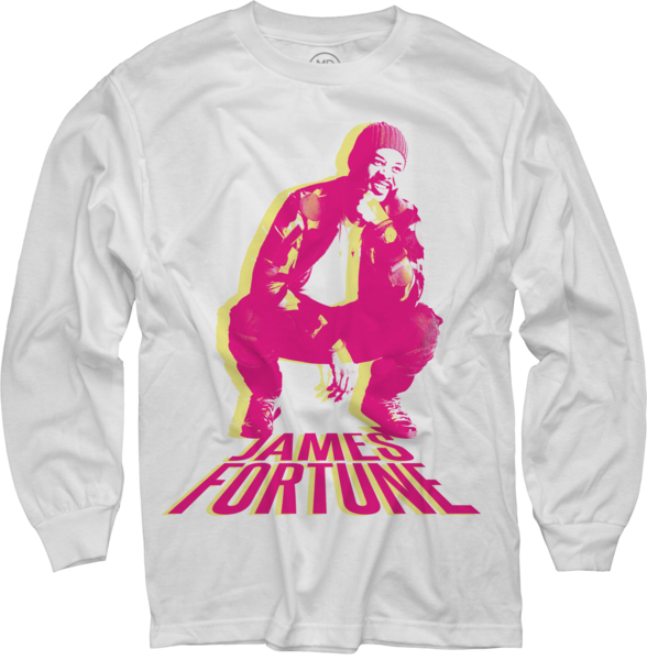 James Fortune Photo on White Long Sleeve