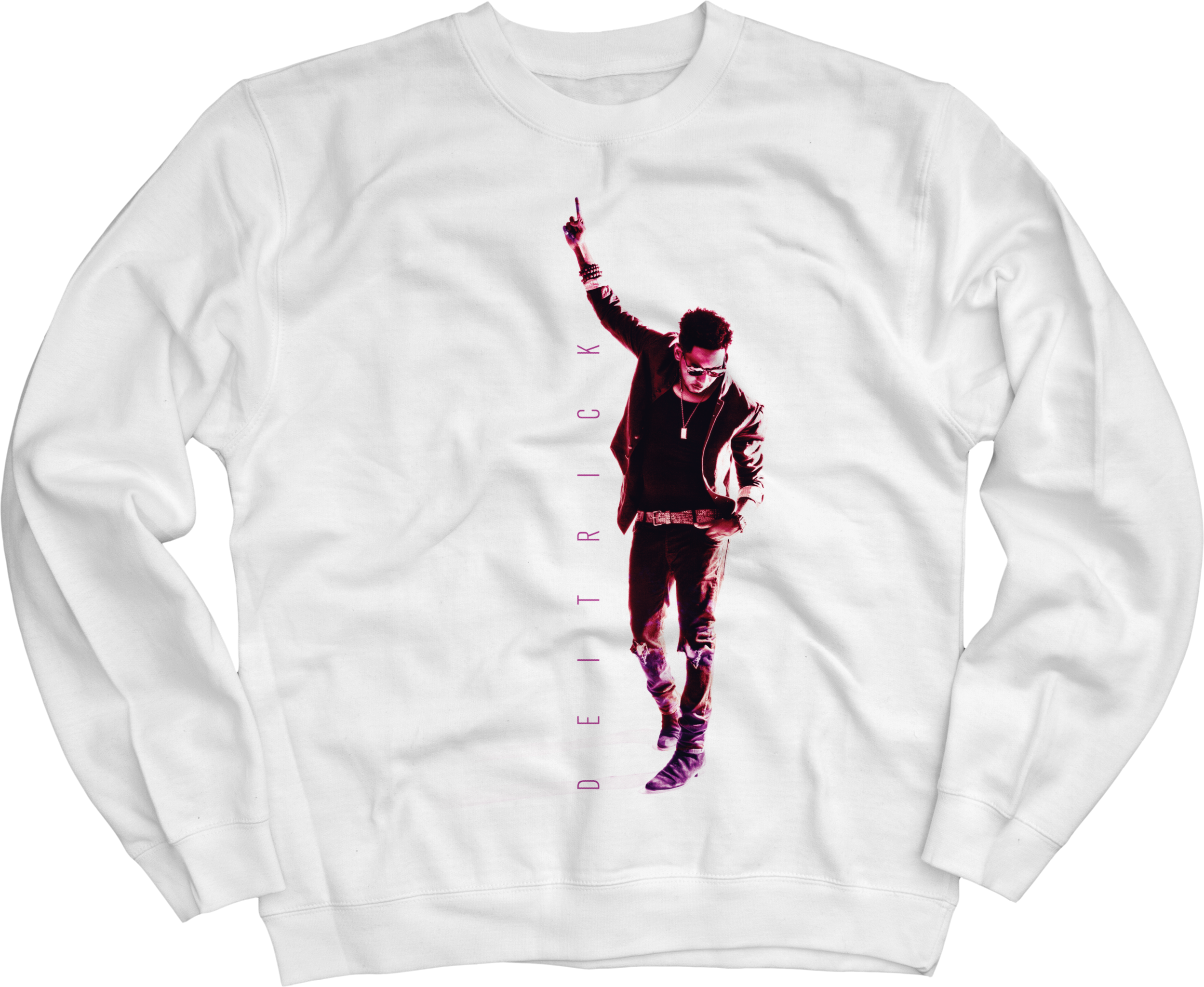 Deitrick Haddon - Pink Photo on White Crewneck