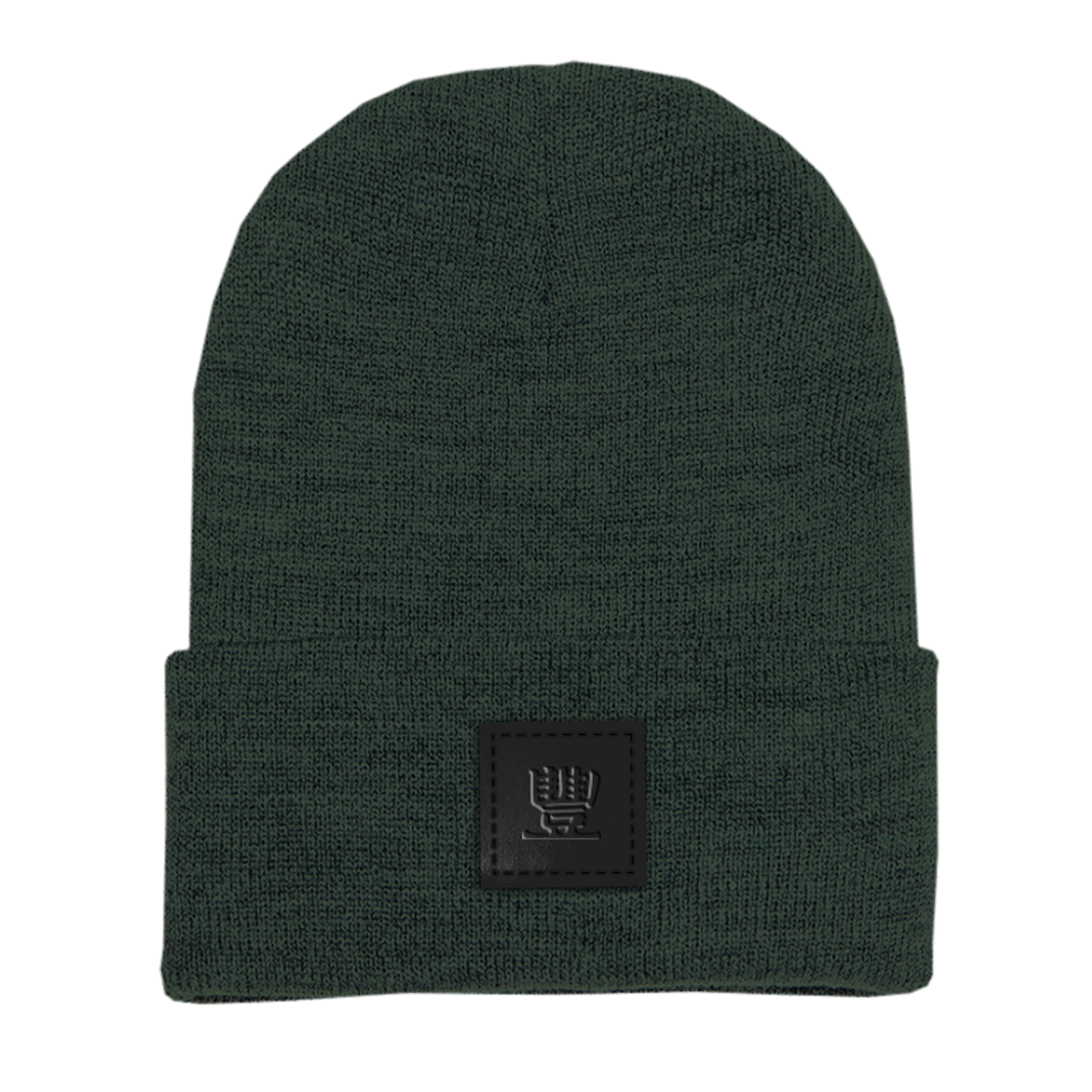 JMT Embossed Leather Patch on Athletic Green Beanie