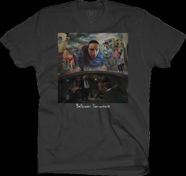 Between Somewhere Black T-Shirt
