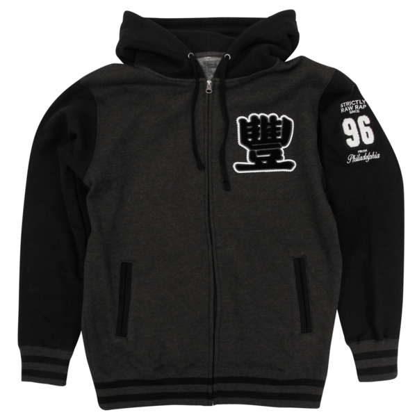 Decades of Destruction on Charcoal Heather/Black Varsity Zip Up