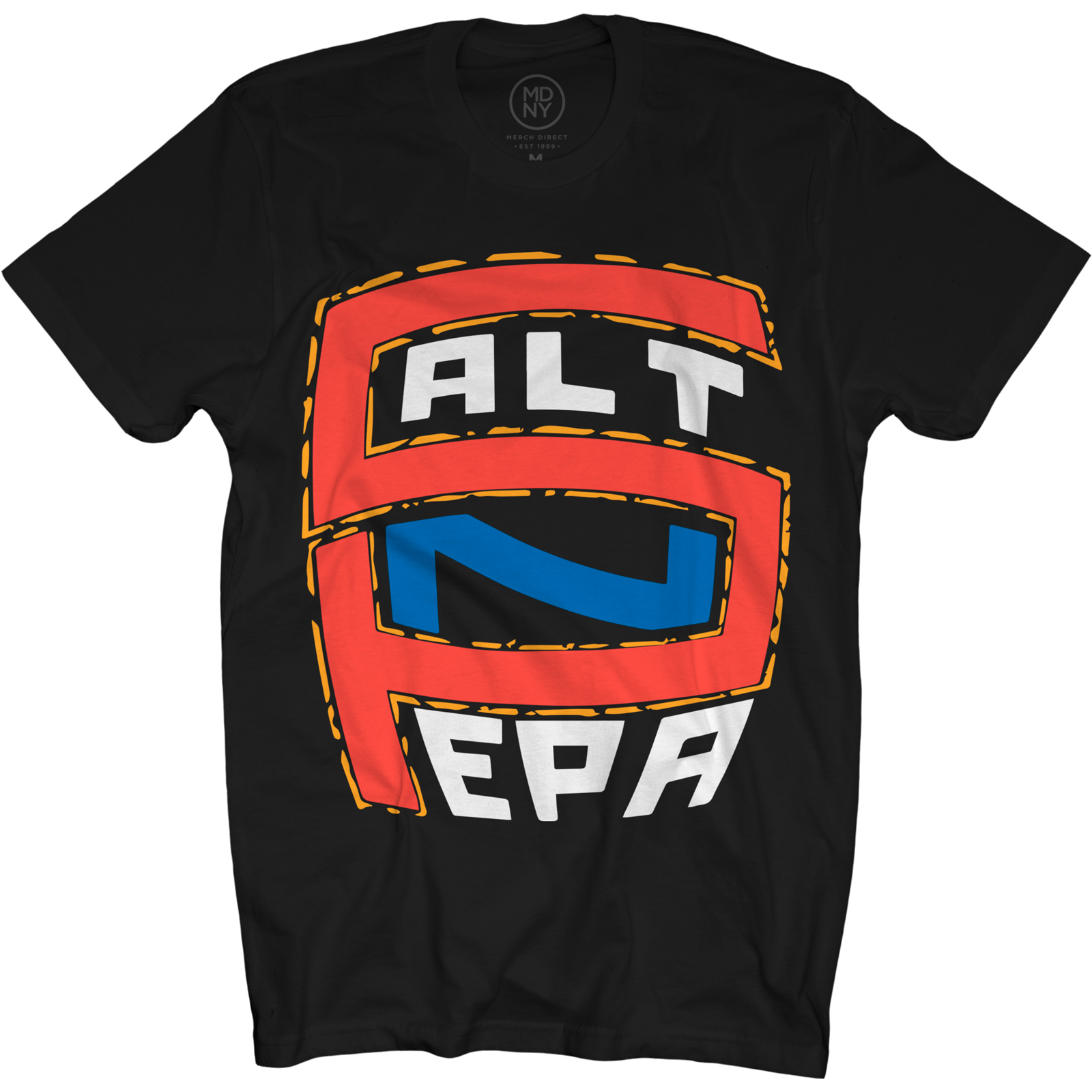 Red & Blue Logo on Black T-Shirt