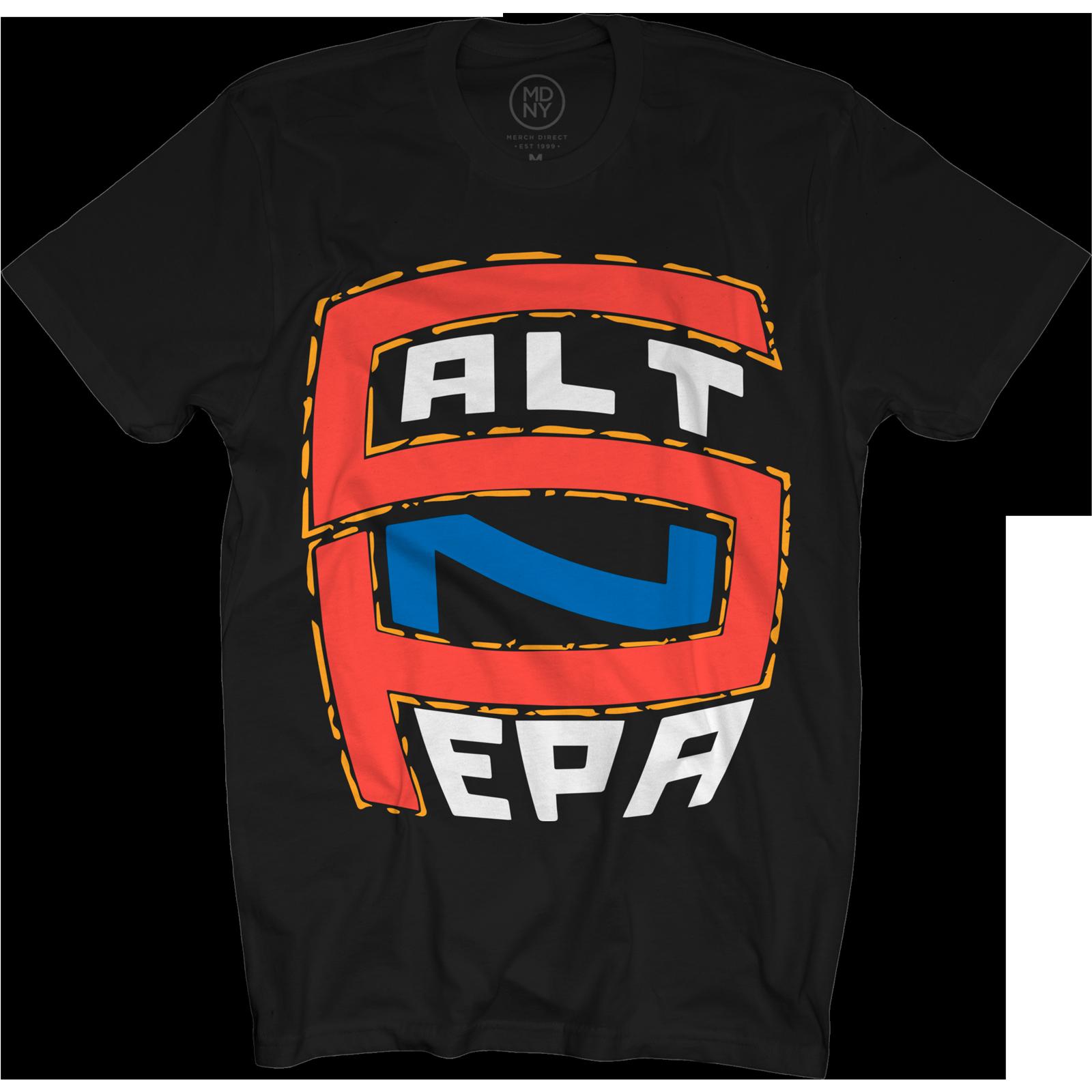 Red & Blue Logo on Black T-Shirt
