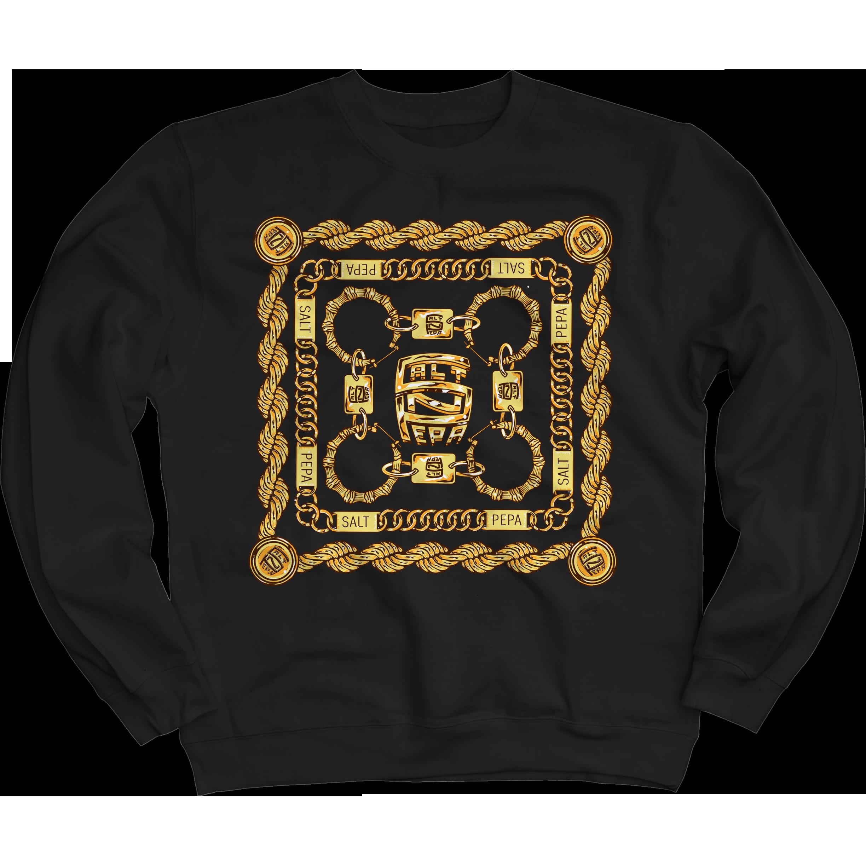 Gold Links Black Crew Neck