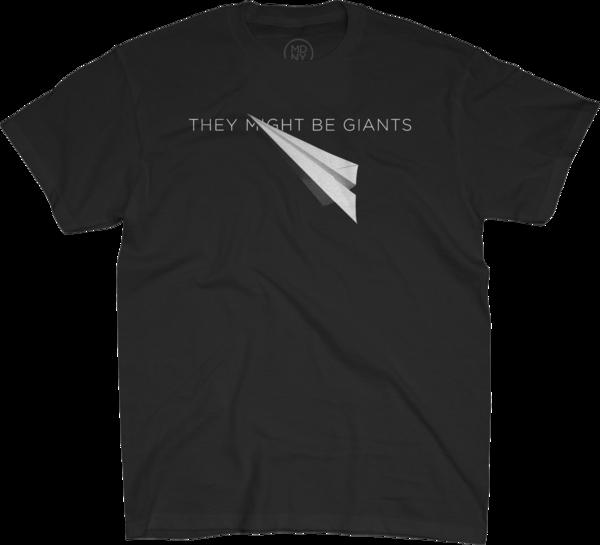 Paper Airplane on Unisex Black T-Shirt