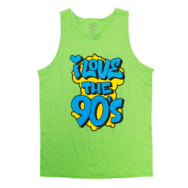 Blue Graffiti Logo on Lime Tank Top