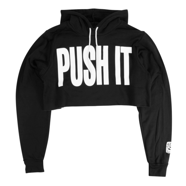 Push It Black Crop Hoody