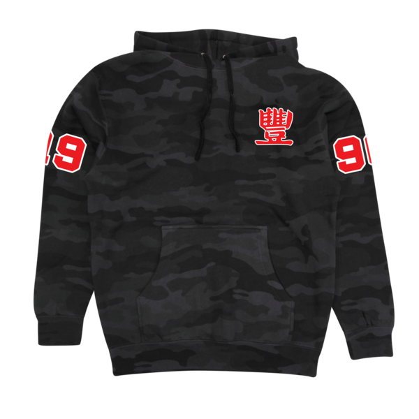 JMT - Collegiate Red on Black Camo Hoodie