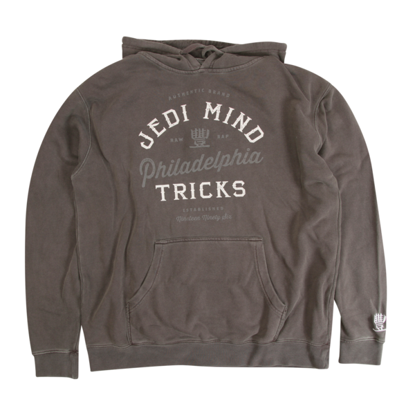 JMT - Authentic Brand Grey On Pigment Dyed Black Hoodie